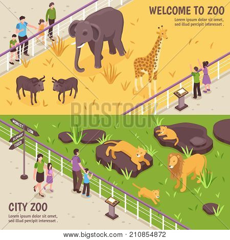 Set of two isometric zoo horizontal banners with compositions of african animals visitors and editable text vector illustration poster
