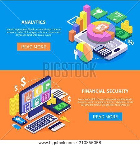 Safe transaction financial security data isometric horizontal banners set isolated on colorful backgrounds 3d vector illustration