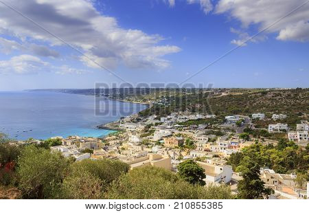 Apulia coast: Castro townscape (Italy).The village is perched on a cliff, overlooking the Adriatic Sea: Salento landscape combines a wide variety of environments, highlands and sea, woods and caves.
