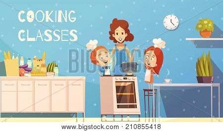 Cooking classes for children in kitchen interior cartoon vector illustration with young woman teaching kids how to cook dinner