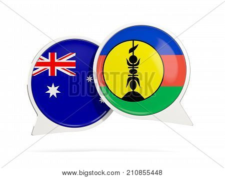 Chat Bubbles Of Australia And New Caledonia Isolated On White