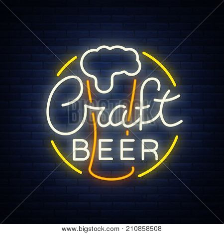 Original logo design is a neon-style beer craft for a beer house, bar pub, brewery brewery tavern, stuffing, pub, restaurant. Night beer advertising, neon glowing bright sign.