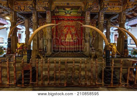 Close up place where the main relic is kept inside Temple of the Tooth in Kandy, Sri Lanka