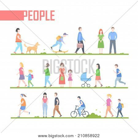People - set of vector cartoon flat design style characters illustration isolated on white background. Active citizens run, jog, walk with a dog, cycle, go to work or school, speak on the phone