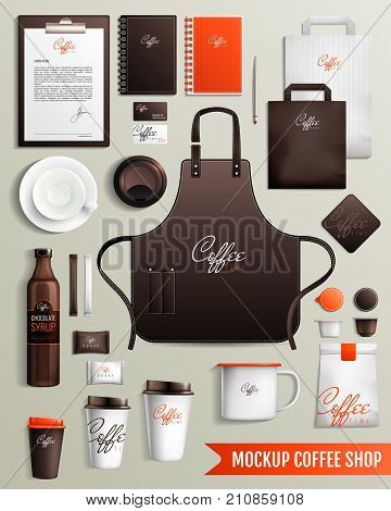 Mockup coffee shop design collection with isolated images of branded cardboard cups cover slut and merch vector illustration