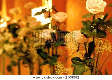 wedding flowers arranged with single white and pink rose stems poster