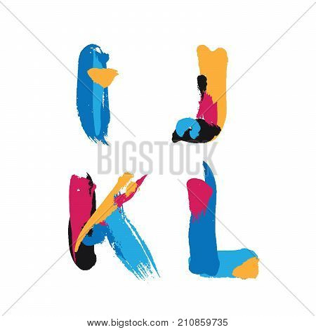 Hand drawn with ink brush strokes alphabet letters I J K and L. Bright watercolor blobs and imprints in vivid typography design