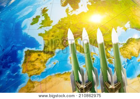 Race Of Weapons, Nuclear Weapons, The Threat Of War In The World. Missiles Against The Background Of
