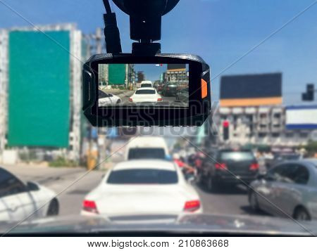 Front car video recorder  in traffic jam