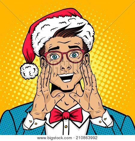 Merry Christmas pop art male face. Surprised happy man in Santa Claus hat suit bow tie with open mouth rises hands screaming announcement. Vector illustration in retro comic style. New year poster.