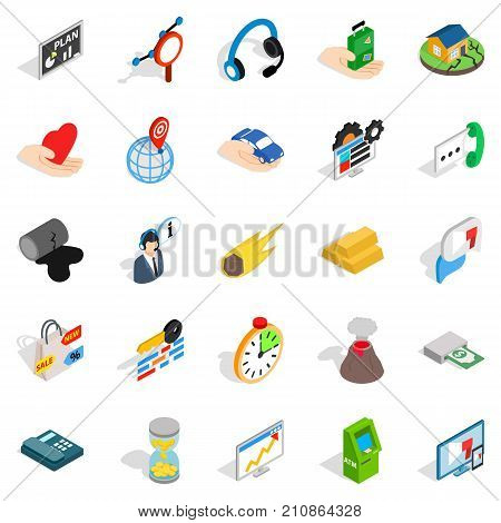 Means of subsistence icons set. Isometric set of 25 means of subsistence vector icons for web isolated on white background