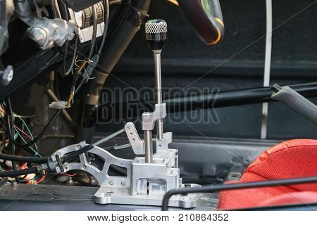 Sequential shifter gearbox in the race car .