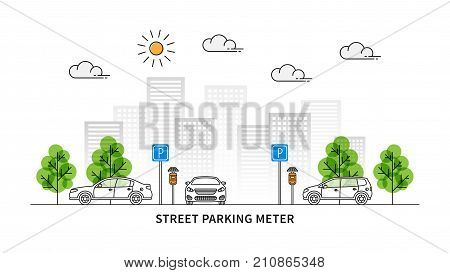 Street parking meter vector illustration. Cars and parking meters with solar panels line art concept. Urban landscape with traffic signs and cars graphic design.