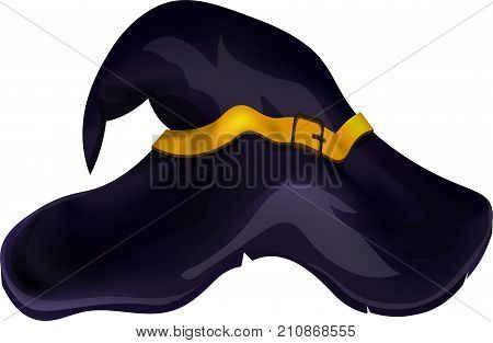Black witches hat. Vector illustration. Isolated on white background