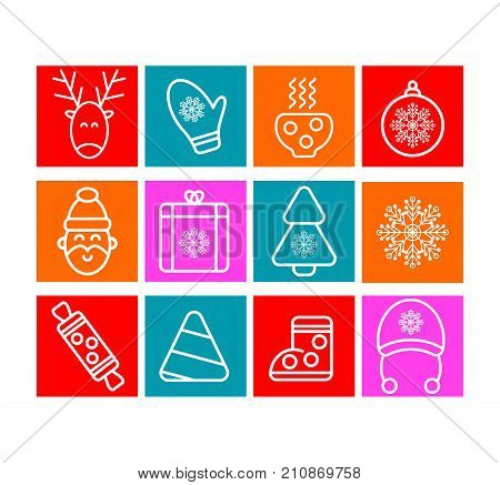 Christmas icon set. Christmas icons vector. Santa Claus reindeer xmas tree ball snowflake stocking cup. Stock vector