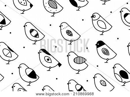 Black and white seamless pattern birds. Background with ornamental birds. Stock vector