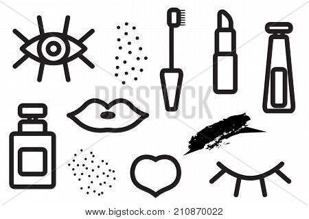 Seamless pattern of cosmetics. Background makeup. Eyelashes lips mascara. Stock vector