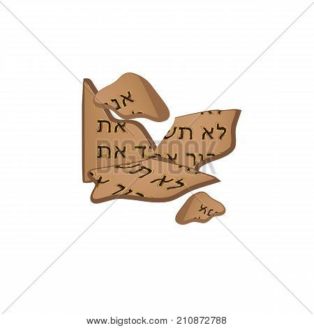 Broken tables of the Covenant. Tablets of Moses. 10 commandments of the bible in Hebrew. Torah. Vector illustration on isolated background