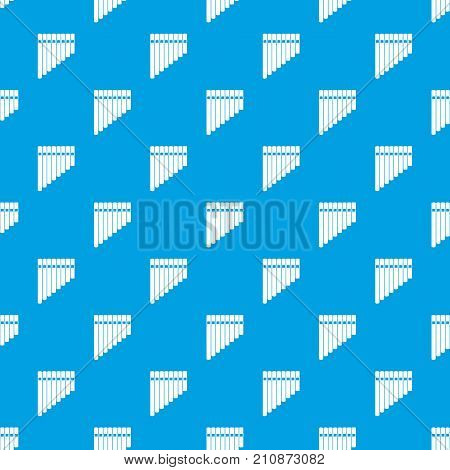 Pan flute pattern repeat seamless in blue color for any design. Vector geometric illustration