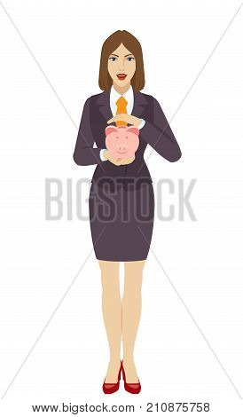 Save money concept. Businesswoman protect piggy bank. Full length portrait of businesswoman character in a flat style. Vector illustration.