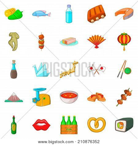European food icons set. Cartoon set of 25 european food vector icons for web isolated on white background