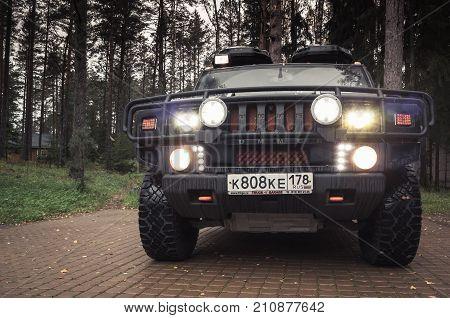 Black Hummer H2 Car, Headlights On