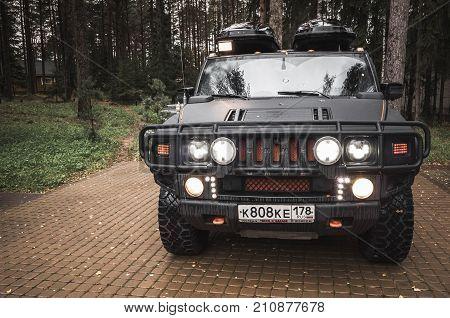 Black Hummer H2 Car, Lights On