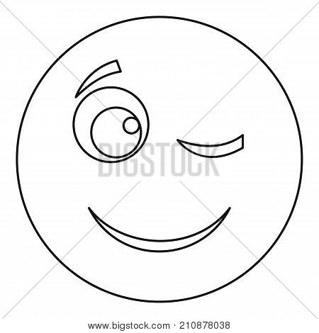 Winks smile icon. Vector thin line illustration of winks smile icon isolated on white background