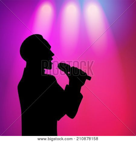 vector man with fashionable haircut silhouette portrait singing with microphone on purple background with spotlights. illustration on colored background.