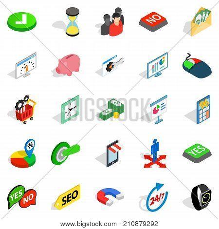 Interchange icons set. Isometric set of 25 interchange vector icons for web isolated on white background