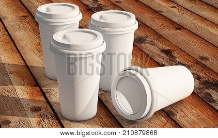 Coffee cup isolated on white background 3D render