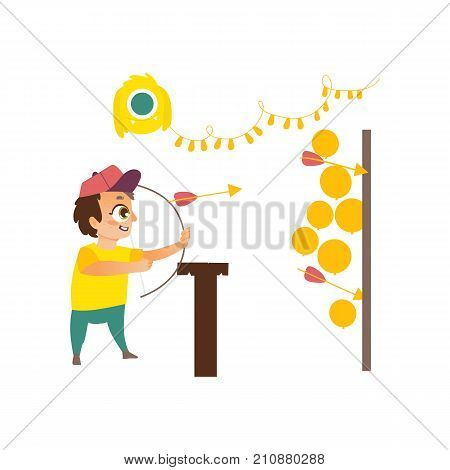 vector flat children in amusement park concept. Boy with bow and arrows having fun in shooting gallery tent from funfair carnival image. Isolated illustration on a white background.