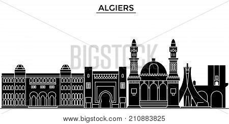 Algiers architecture vector city skyline, black cityscape with landmarks, isolated sights on background