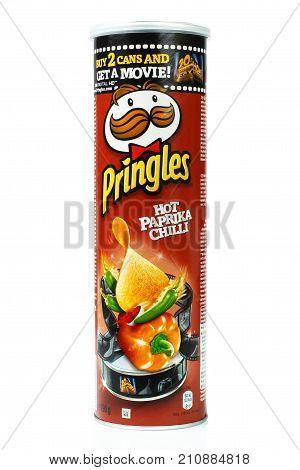 Kiev Ukraine - September 4 2017: Pringles original potato chips box on white background. Pringles is a brand of potato snack chips owned by the Kellogg Company