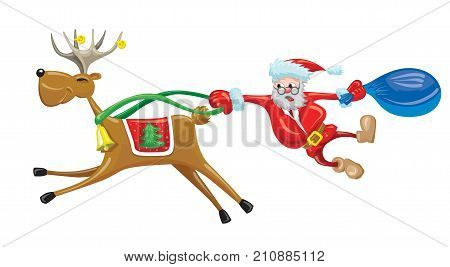 Scared Santa is hanging behind reindeer which running fast. Merry Christmas funny card with riding reindeer.