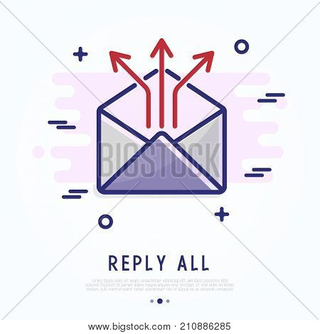 All reply thin line icon. Envelope with three arrows. Modern vector illustration.