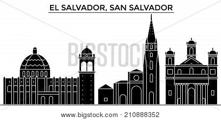 El Salvador, San Salvador architecture vector city skyline, black cityscape with landmarks, isolated sights on background
