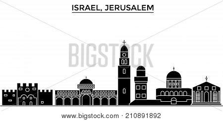 Israel, Jerusalem architecture vector city skyline, black cityscape with landmarks, isolated sights on background