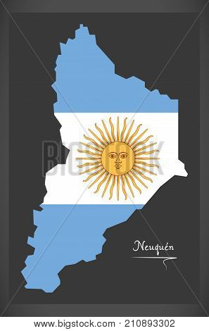 Neuquen Map Of Argentina With Argentinian National Flag Illustration