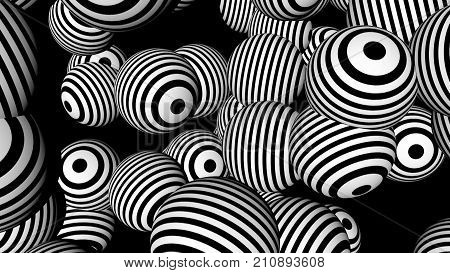 Abstract background with black and white spheres. Seamless loop