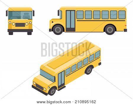 Isometric 3d Retro Design Flat School Buss Car Icons Set Vector illustration