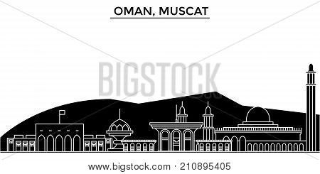 Oman, Muscat architecture vector city skyline, black cityscape with landmarks, isolated sights on background