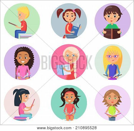 Nine reading children holding open schoolbooks in round color icons isolated on white vector illustrations in cartoon style