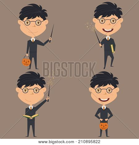 Vector set with Wizard boy with magic wand and spell book. Teen with trendy costume for Halloween party. Child collect sweets.