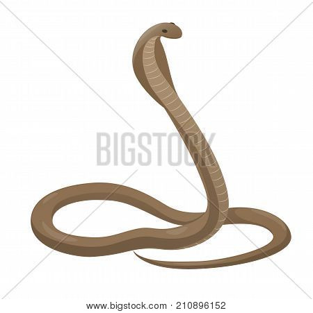 Curved rearing cobra with open hood icon. Creeping venomous snake flat vector isolated on white background. Crawling poisonous reptile illustration for wild nature concepts, zoo ad poster