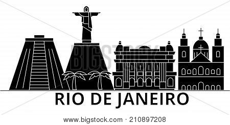 Rio De Janeiro architecture vector city skyline, black cityscape with landmarks, isolated sights on background