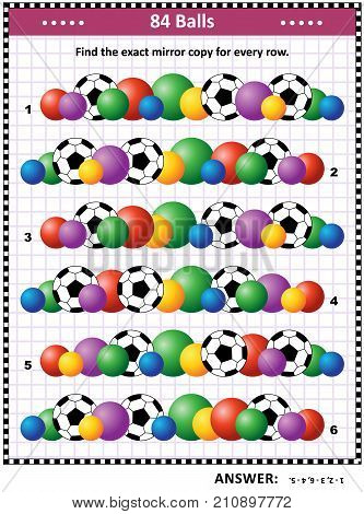 Soccer or football themed IQ training picture puzzle: Match the pairs - find the exact mirror copy for every row of balls. Answer included.