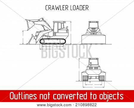 typical crawler loader overall dimensions blueprint template illustration