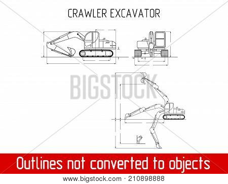 typical crawler excavator overall dimensions blueprint template illustration poster