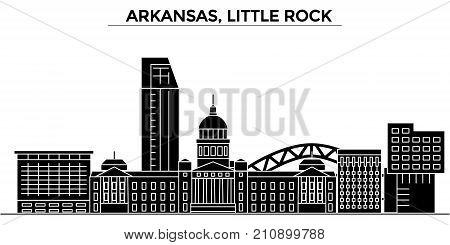 Usa, Arkansas, Little Rock architecture vector city skyline, black cityscape with landmarks, isolated sights on background